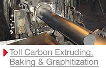 Toll carbon extruding, baking and graphitization